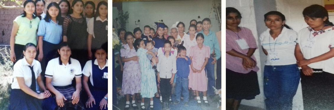 Hna. Vilma como estudiante en Casa Claudio (izquierda), con su familia en su graduación, y en su primer retiro de discernimiento con la Congregación